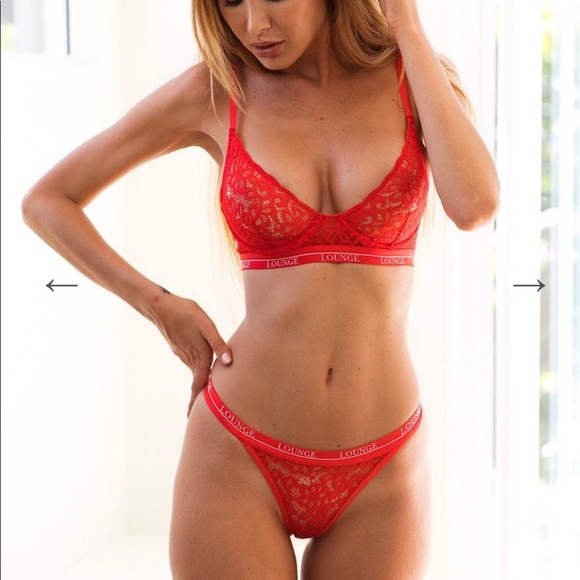 4caba34a37355 Lounge Underwear Red Balcony Bra and Thong